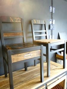 Paire de chaises vintage relookées industrielles 11/22