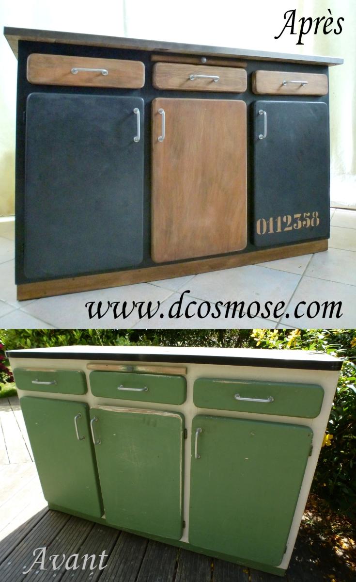Relooking d un buffet vintage en bahut industriel d 39 cosmose - Renovation meuble industriel ...