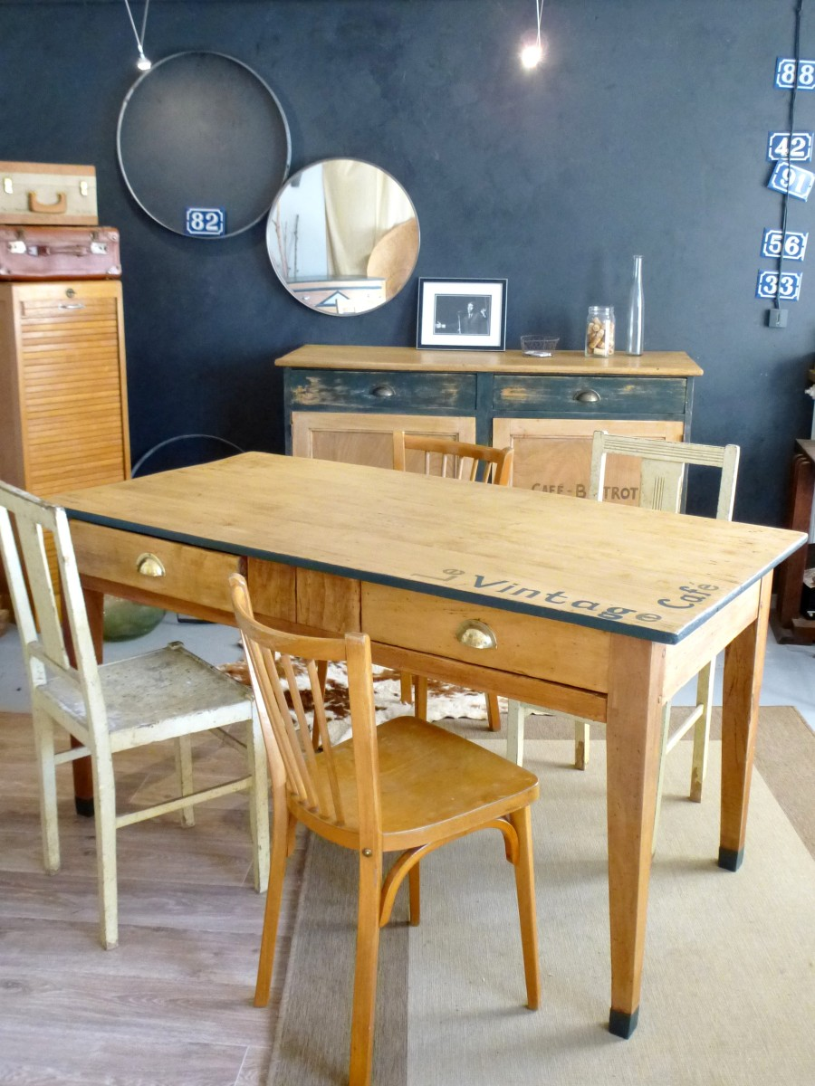 table ancienne de ferme en bois style bistrot d 39 cosmose. Black Bedroom Furniture Sets. Home Design Ideas