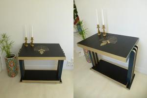 Table console d'appoint en bois relookée style art déco couleurs noir bleu doré beaux relooking meubles 44 49 nantes vallet beaupréau www.dcosmose.com constance schroeder
