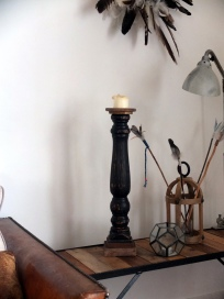 Bougeoir noir cerusé 56cm
