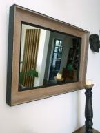 Miroir ancien chene blanchi et noir glace piquée